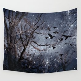 Woodland Crows And Bursting Stars Wall Tapestry