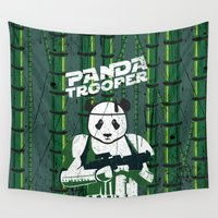 trooper Wall Tapestries featuring Panda trooper by Tony Vazquez