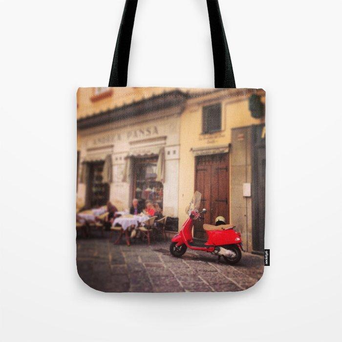 Italy-Vintage Vespa Photo Tote Bag