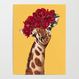 Giraffe with Rose Flower Crown in Yellow Poster