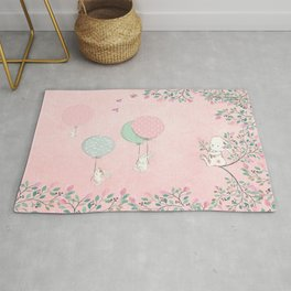 Cute flying Bunny with Balloon and Flower Rabbit Animal on pink floral background Rug