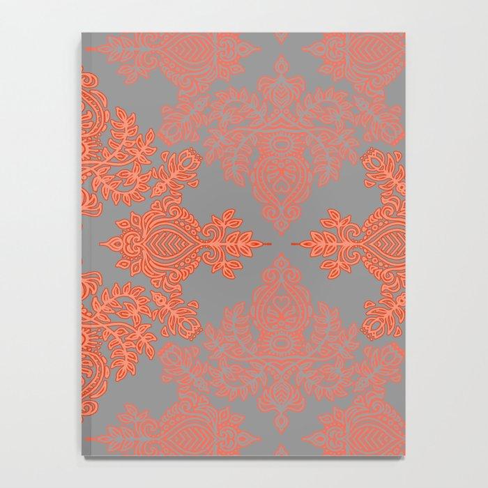 Burnt Orange, Coral & Grey doodle pattern Notebook