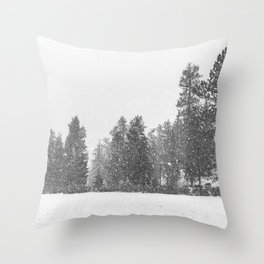Snow Days // Snowy Tree Black and White Winter Landscape Photography Ski Snowboard Woods Wall Decor Throw Pillow
