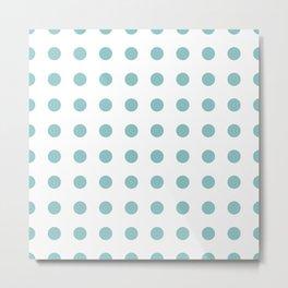 Chalky Blue Polka Dots Metal Print