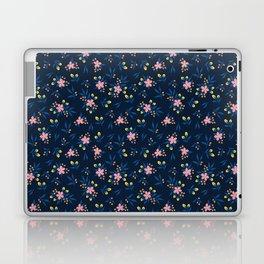 Pink Florals on Blue Laptop & iPad Skin