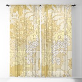 Yellow, Ivory & Brown Retro Floral Pattern Sheer Curtain