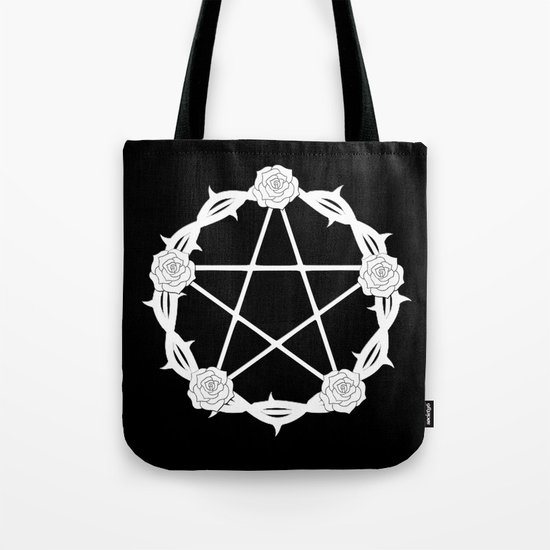 Pentagram and Roses Tote Bag