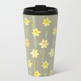 Yellow Watercolour Stemmed Daffodil Pattern Travel Mug