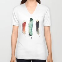 paint V-neck T-shirts featuring Feathers by Amy Hamilton
