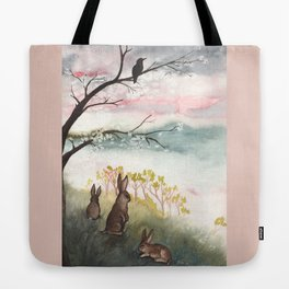 Three Rabbits and Plum Blossoms Tote Bag