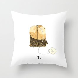 T is for Tea. Throw Pillow