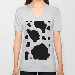 Black and White Cow Animal Pattern Print Unisex V-Neck