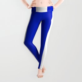 Cobalt Blue and White Wide Circus Tent Stripe Leggings