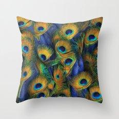 peacock eyes Throw Pillow