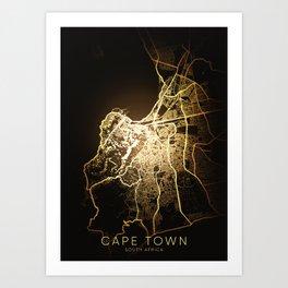 cape town south africa city night light map Art Print