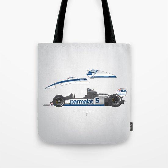 Outline Series N.º6, Nelson Piquet, Brabham BT-52 BMW, 1983 Tote Bag