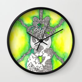 Watercolor Doodle Art | Kiss Beneath the Mistletoe Wall Clock