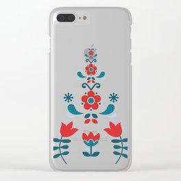 Retro Nordic Folk Clear iPhone Case