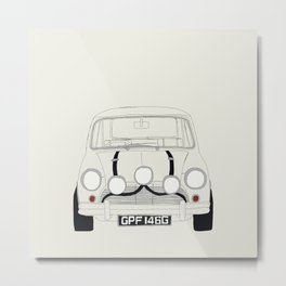 The Italian Job White Mini Cooper Metal Print