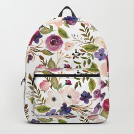 Violet pink yellow green watercolor modern floral pattern Backpack
