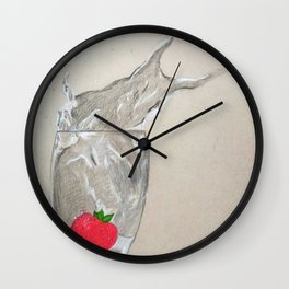 Strawberry dropped in a glass Wall Clock