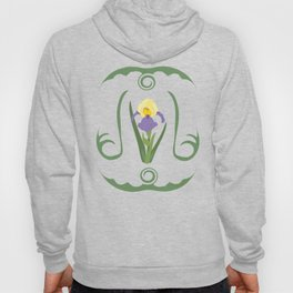 Iris Flowers Illustrated Pattern Purple Green Yellow Summer Garden Hoody