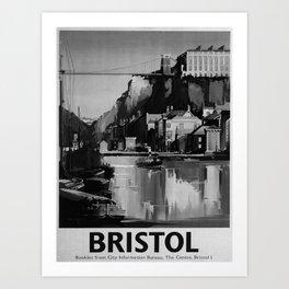 retro b/w Bristol travel poster Art Print