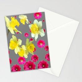 FUCHSIA FLOWERS & YELLOW DAFFODILS DESIGN Stationery Cards