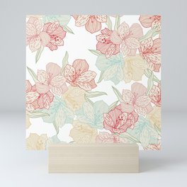 Victorian Pink Rose Print With Blue and Green Highlights Mini Art Print