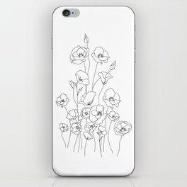 Poppy Flowers Line Art iPhone Skin