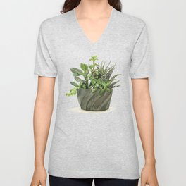 Watercolor Succulents Unisex V-Neck