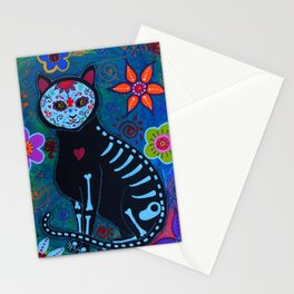 Mexican Day of the Dead El gato Cat Calavera Painting Stationery Cards