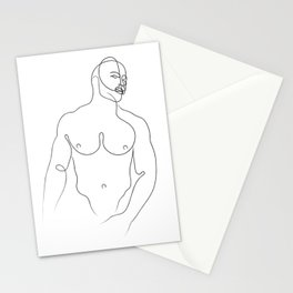 Male Torso Line Drawing Stationery Cards