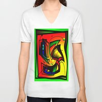 frames V-neck T-shirts featuring Mysterious frames II by Horacio Moschini
