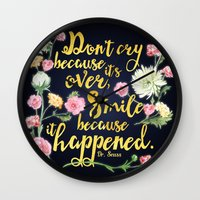dr seuss Wall Clocks featuring Dr. Seuss - Don't Cry by Evie Seo