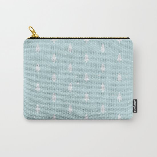 Christmas Trees Pattern Light Blue Carry-All Pouch