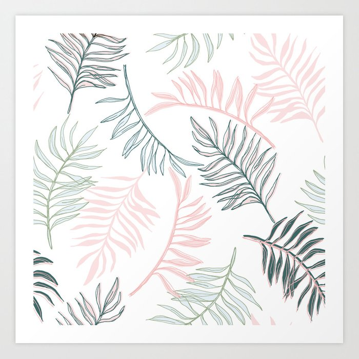 Large Pastel Palm Leaf Line Drawing Pattern White Art Print By Meganheloise Society6