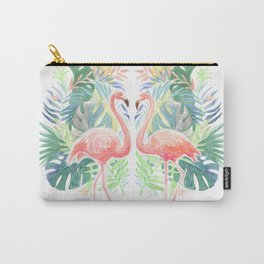 Lovely Fairy Tale For Two Flamingo Watercolor Illustration Carry-All Pouch