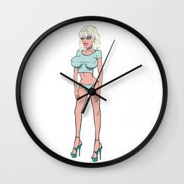 sexy toon anime hentai girl big boobs lips hot party blonde nipples high heels joke tits Wall Clock