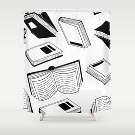 BOOK OBSESSION MONOCHROME PATTERN Shower Curtain
