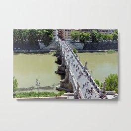 Top view of the Sant'Angelo bridge in Rome, Italy Metal Print