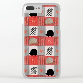 Hedgie Plaid Clear iPhone Case