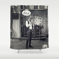 hipster Shower Curtains featuring Hipster by Stephan Parylak