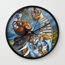 Steampunk Alice in Wonderland Teacups Wall Clock