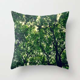 In the woods the light through leaves Throw Pillow