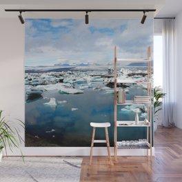 Watercolor Landscape, Jokulsarlon 01, Iceland Wall Mural