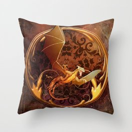 Gold Dragon Emblem on Faux Leather Throw Pillow