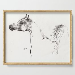 Arabian horse ink art Serving Tray