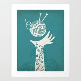 Yarn Love - Teal  Art Print