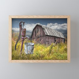 Weathered Wooden Barn with Water Pump and Metal Bucket Framed Mini Art Print